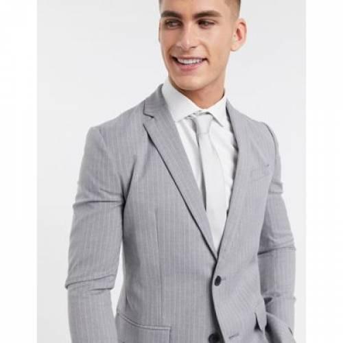 灰色 グレ メンズファッション コート ジャケット 【 NEW LOOK PINSTRIPE SKINNY SUIT JACKET IN GREY 】 ※セットアップではありません