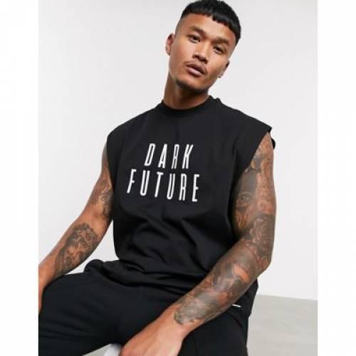 ノンスリーブ Tシャツ ロゴ メンズファッション トップス ベスト ジレ 【 SLEEVELESS ASOS DESIGN DARK FUTURE OVERSIZED LONGLINE TSHIRT WITH LOGO 】