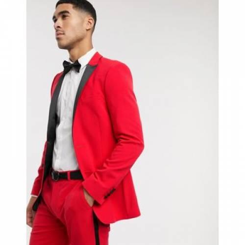 赤 レッド メンズファッション コート ジャケット 【 RED ASOS DESIGN SUPER SKINNY TUXEDO SUIT JACKET IN BRIGHT 】 ※セットアップではありません