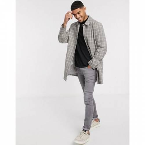 灰色 グレ メンズファッション コート ジャケット 【 TOPMAN MAC IN GREY CHECK 】