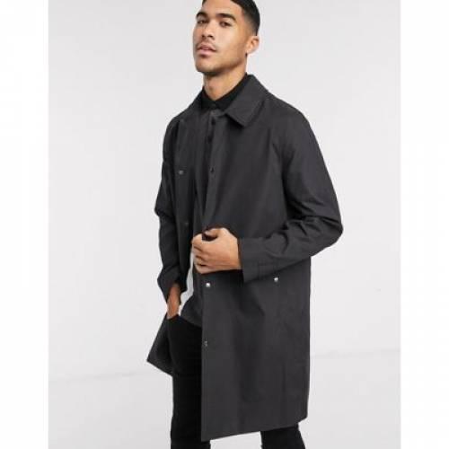 黒 ブラック メンズファッション コート ジャケット 【 BLACK TOPMAN COTTON COATED MAC IN 】