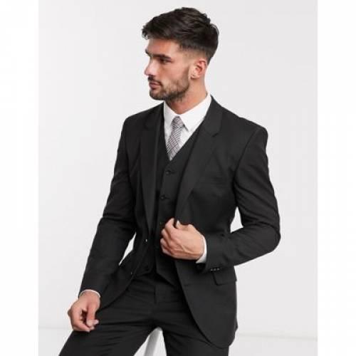 スリム 黒 ブラック メンズファッション コート ジャケット 【 SLIM BLACK ASOS DESIGN SUIT JACKET IN 】 ※セットアップではありません