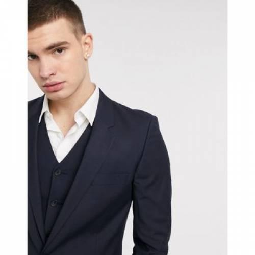 スリム 紺 ネイビー メンズファッション コート ジャケット 【 SLIM NAVY ASOS DESIGN SUIT JACKET IN 】 ※セットアップではありません