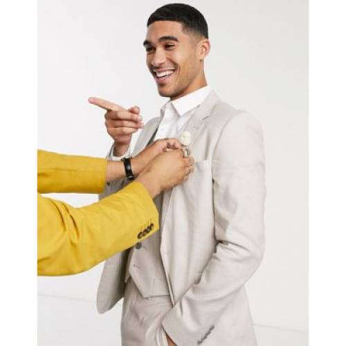 メンズファッション コート ジャケット 【 ASOS DESIGN WEDDING SUPER SKINNY SUIT JACKET IN STRETCH COTTON LINEN STONE 】 ※セットアップではありません
