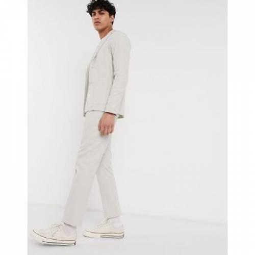 灰色 グレ メンズファッション コート ジャケット 【 ASOS DESIGN SKINNY CASUAL LINEN MIX SUIT JACKET IN ICE GREY 】 ※セットアップではありません