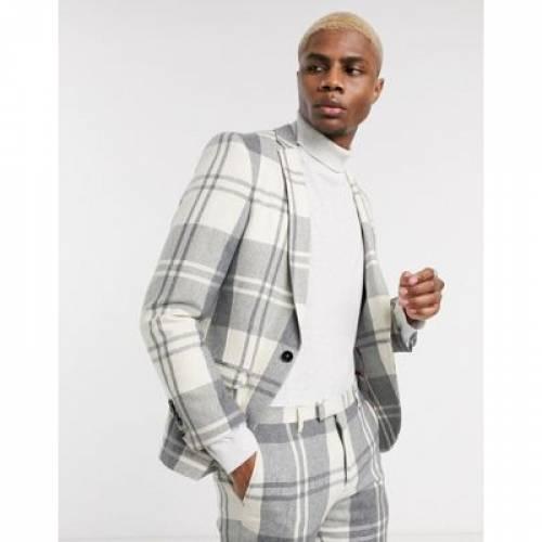 クリーム 灰色 グレ メンズファッション コート ジャケット 【 TWISTED TAILOR SUIT JACKET IN CREAM AND GREY CHECK 】 ※セットアップではありません