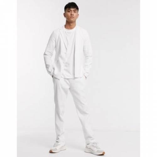白 ホワイト メンズファッション コート ジャケット 【 WHITE ASOS DESIGN SKINNY CASUAL LINEN MIX SUIT JACKET IN 】 ※セットアップではありません