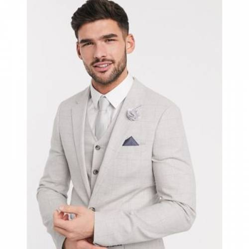 灰色 グレ メンズファッション コート ジャケット 【 ASOS DESIGN WEDDING SUPER SKINNY SUIT JACKET IN STRETCH COTTON LINEN GREY CHECK 】 ※セットアップではありません