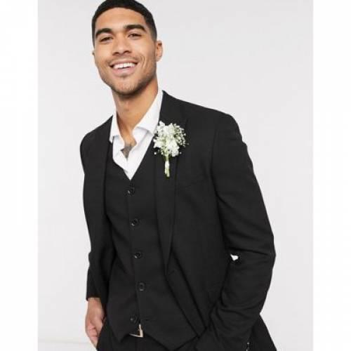 ミクロ テクスチャー 黒 ブラック メンズファッション コート ジャケット 【 MICRO BLACK ASOS DESIGN WEDDING SUPER SKINNY SUIT JACKET IN TEXTURE 】 ※セットアップではありません