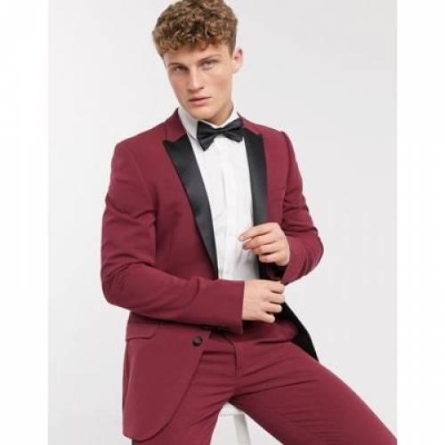 ワイン色 バーガンディー メンズファッション コート ジャケット 【 ASOS DESIGN SUPER SKINNY TUXEDO SUIT JACKET IN BURGUNDY 】 ※セットアップではありません