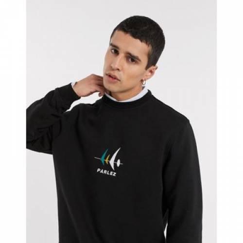 黒 ブラック メンズファッション トップス スウェット トレーナー 【 BLACK PARLEZ CARLSON CREWNECK SWEATSHIRT IN 】