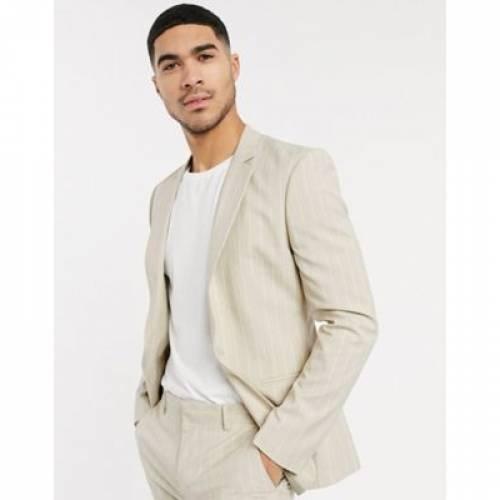 メンズファッション コート ジャケット 【 ASOS DESIGN SKINNY SUIT JACKET IN STONE PINSTRIPE 】 ※セットアップではありません