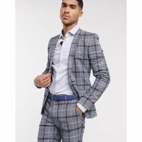 紺 ネイビー 白 ホワイト メンズファッション コート ジャケット 【 NAVY WHITE ASOS DESIGN SUPER SKINNY SUIT JACKET IN AND BOLD CHECK 】 ※セットアップではありません