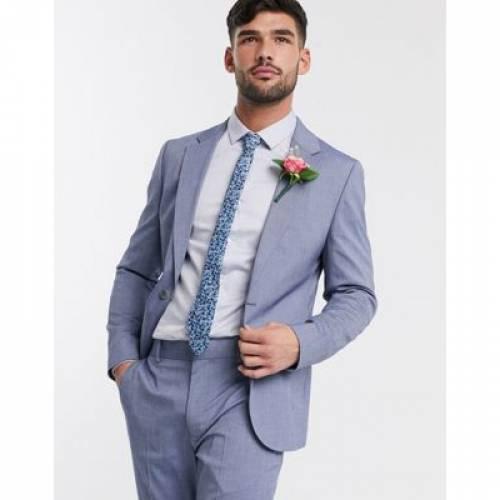 青 ブルー メンズファッション コート ジャケット 【 BLUE ASOS DESIGN WEDDING SKINNY SUIT JACKET IN LIGHT 】 ※セットアップではありません