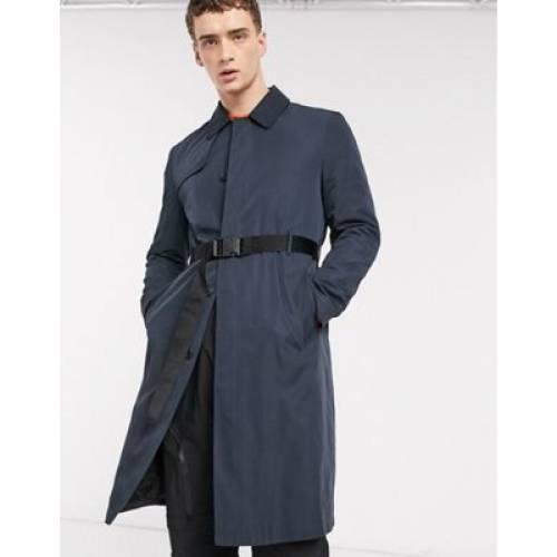 ベルト 紺 ネイビー メンズファッション コート ジャケット 【 NAVY ASOS DESIGN SINGLE BREASTED TRENCH COAT WITH BELT IN 】