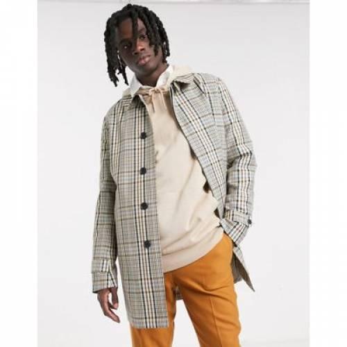 メンズファッション コート ジャケット 【 ASOS DESIGN LIGHTWEIGHT TRENCH COAT IN CHECK 】