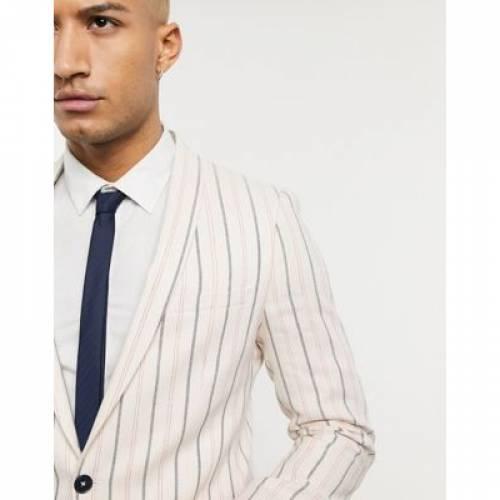 クリーム メンズファッション コート ジャケット 【 TWISTED TAILOR SKINNY SUIT JACKET WITH STRIPES IN CREAM 】 ※セットアップではありません