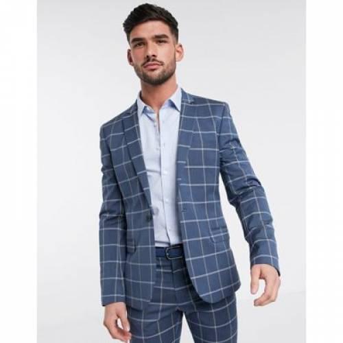青 ブルー メンズファッション コート ジャケット 【 BLUE ASOS DESIGN SUPER SKINNY SUIT JACKET IN LIGHT WINDOWPANE CHECK 】 ※セットアップではありません
