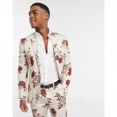 メンズファッション コート ジャケット 【 TOPMAN SKINNY SUIT JACKET IN FLORAL PRINT 】 ※セットアップではありません