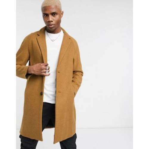 メンズファッション コート ジャケット 【 BERSHKA WOOL BLEND OVERCOAT IN TAN 】