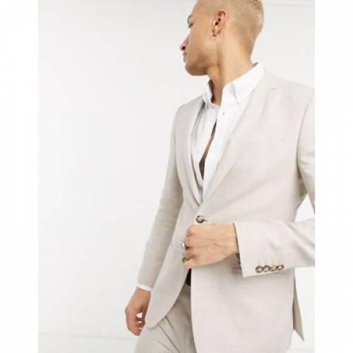 スリム メンズファッション コート ジャケット 【 SLIM LOCKSTOCK FIT SUIT JACKET IN LINEN ECRU CHECK 】 ※セットアップではありません
