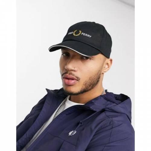 グラフィック キャップ 帽子 黒 ブラック バッグ メンズキャップ 【 BLACK FRED PERRY EMBROIDERED GRAPHIC CAP IN 】