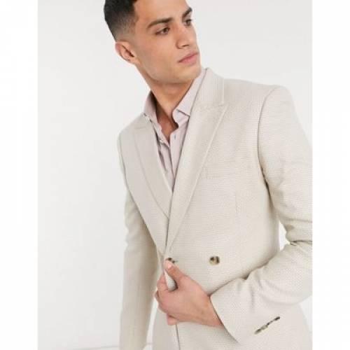 テクスチャー メンズファッション コート ジャケット 【 ASOS DESIGN SKINNY DOUBLE BREASTED SUIT JACKET IN STONE TEXTURE 】 ※セットアップではありません