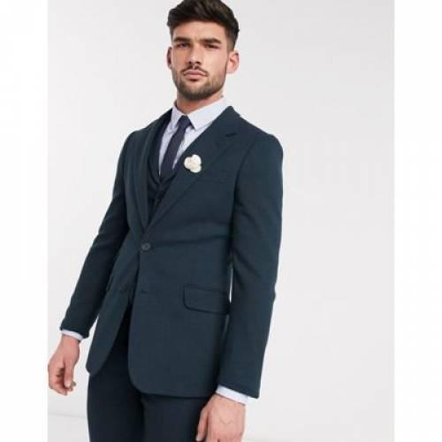 緑 グリーン メンズファッション コート ジャケット 【 GREEN ASOS DESIGN WEDDING SUPER SKINNY SUIT JACKET IN DARK WOOL BLEND TWILL 】 ※セットアップではありません