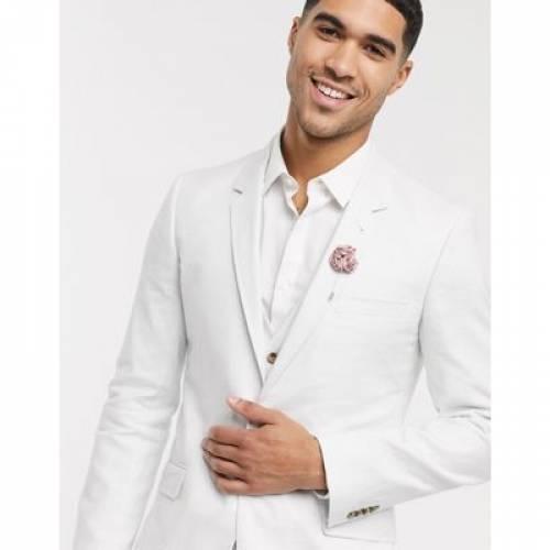 灰色 グレ メンズファッション コート ジャケット 【 ASOS DESIGN WEDDING SKINNY SUIT JACKET IN STRETCH COTTON LINEN DOVE GREY 】 ※セットアップではありません