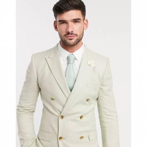 メンズファッション コート ジャケット 【 ASOS DESIGN WEDDING SUPER SKINNY DOUBLE BREASTED SUIT JACKET IN STRETCH COTTON LINEN MINT HOUNDSTOOTH 】 ※セットアップではありません