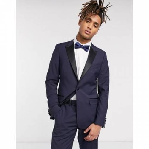 紺 ネイビー メンズファッション コート ジャケット 【 NAVY ASOS DESIGN SKINNY TUXEDO SUIT JACKET IN 】 ※セットアップではありません