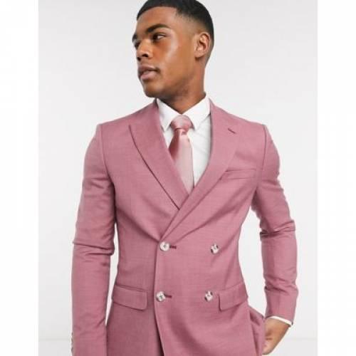 ピンク メンズファッション コート ジャケット 【 PINK TOPMAN SKINNY DOUBLE BREASTED SUIT JACKET IN 】 ※セットアップではありません