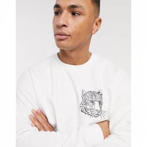ロゴ 白 ホワイト メンズファッション トップス スウェット トレーナー 【 WHITE TOPMAN JUMPER WITH LEOPARD LOGO IN 】