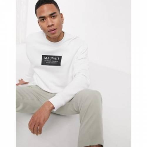 ボックス ロゴ 白 ホワイト メンズファッション トップス スウェット トレーナー 【 WHITE MAUVAIS BOX LOGO SWEATSHIRT IN 】