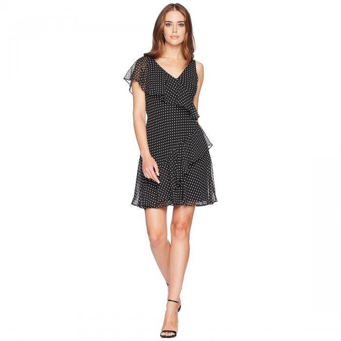 CHAPS 【 DOTPRINT GEORGETTE DRESS BLACK COLONIAL CREAM 】 レディースファッション ワンピース 送料無料