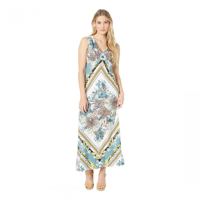 【海外限定】ブイネック ドレス レディースファッション ワンピース 【 LONDON TIMES VNECK SCARF PRINT MAXI DRESS 】