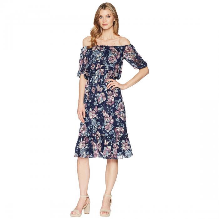 アドリアナパペル ADRIANNA PAPELL ドレス レディースファッション ワンピース レディース 【 Off Shoulder Blouson Burnout Dress 】 Navy Multi