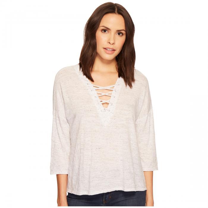 THREE DOTS Tシャツ 白 ホワイト 【 WHITE THREE DOTS TIE FRONT TEE 】 レディースファッション トップス Tシャツ カットソー