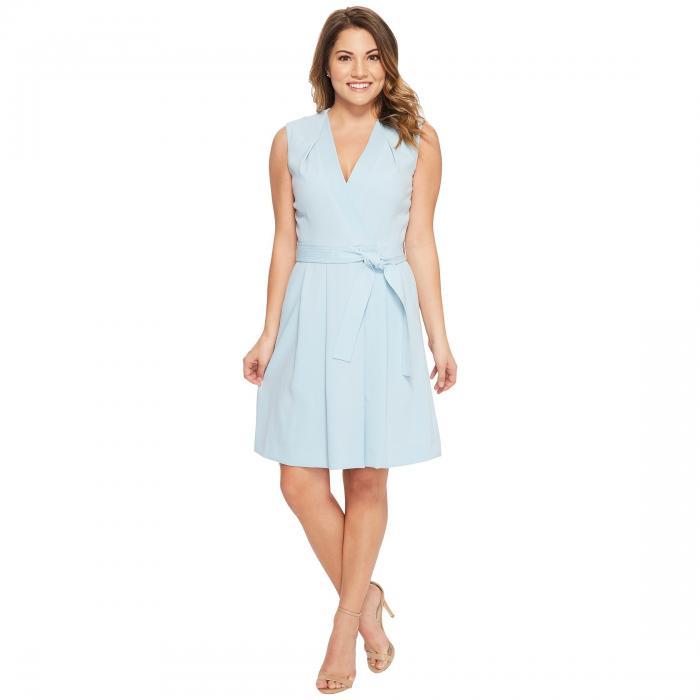 【★スーパーセール中★ 6/11深夜2時迄】TAHARI BY ASL ラップ ドレス レディースファッション ワンピース レディース 【 Petite Faux Wrap Dress 】 Sky Blue