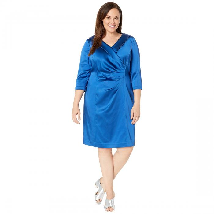 TAHARI BY ASL サテン ドレス レディースファッション ワンピース レディース 【 Plus Size Stretch Satin Cocktail Dress With Wide Neckline And Side Drape Detail 】 Cerulean Blue