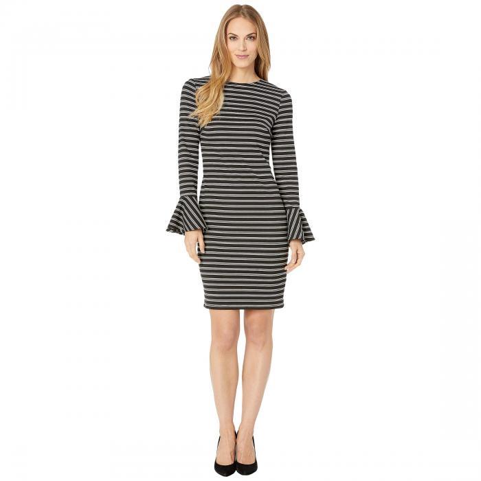 CHAPS ドレス レディースファッション ワンピース レディース 【 Striped Bell Cuff Ponte Dress 】 Black/white