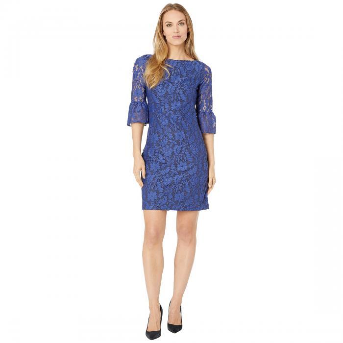 CHAPS スリーブ ドレス レディースファッション ワンピース レディース 【 A-line Bell Sleeve Lace Dress 】 Blue/black