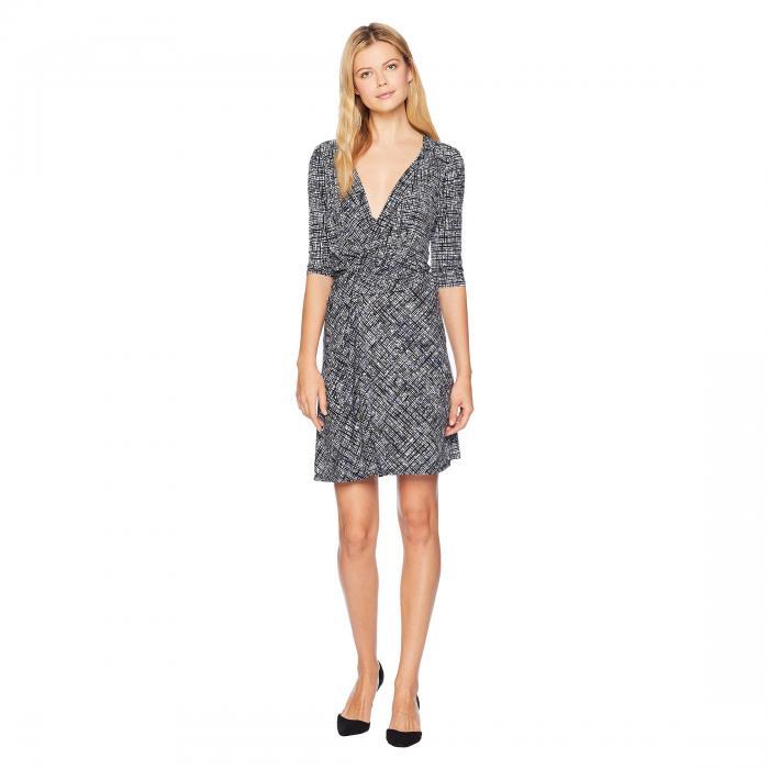 ELLEN TRACY ドレス レディースファッション ワンピース レディース 【 Twisted Front Dress 】 Crosshatch/sky Blue