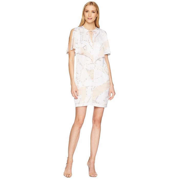 KENNETH COLE NEW YORK 【 CAPELET DRESS FLOATING SHAPES WHITE 】 レディースファッション ワンピース 送料無料