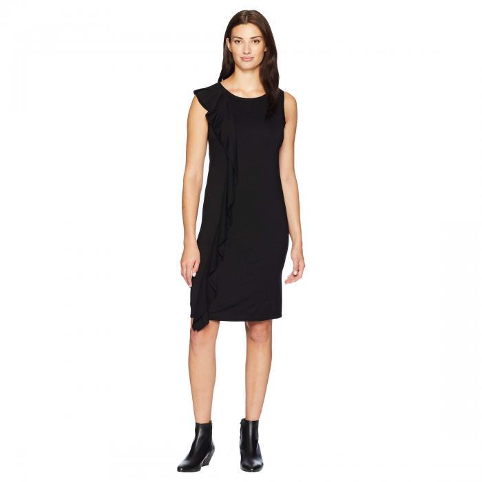 THREE DOTS ジャージ ドレス レディースファッション ワンピース レディース 【 Refined Jersey Ruffle Dress 】 Black