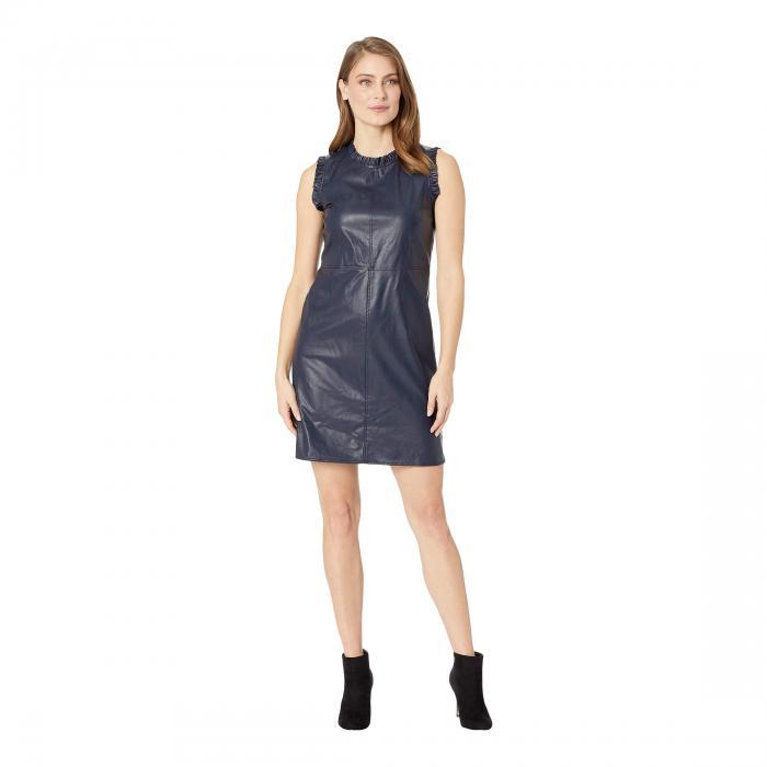 CECE ノンスリーブ ドレス レディースファッション ワンピース レディース 【 Sleeveless Ruffled Pleather Dress 】 Caviar