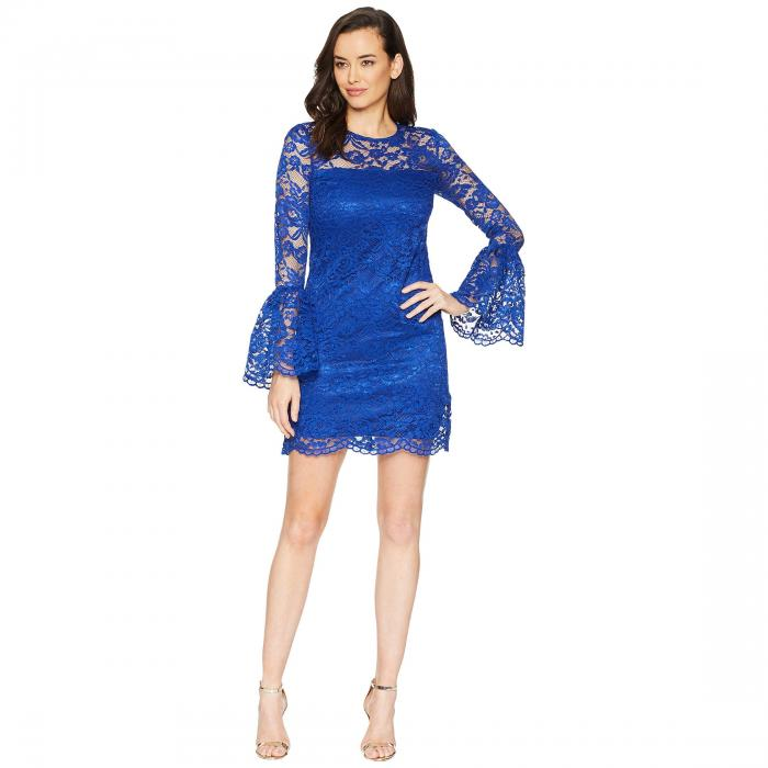 LAUNDRY BY SHELLI SEGAL ドレス 【 LAUNDRY BY SHELLI SEGAL LACE DRESS WITH BELL SLEEVES COBALT 】 レディースファッション ワンピース