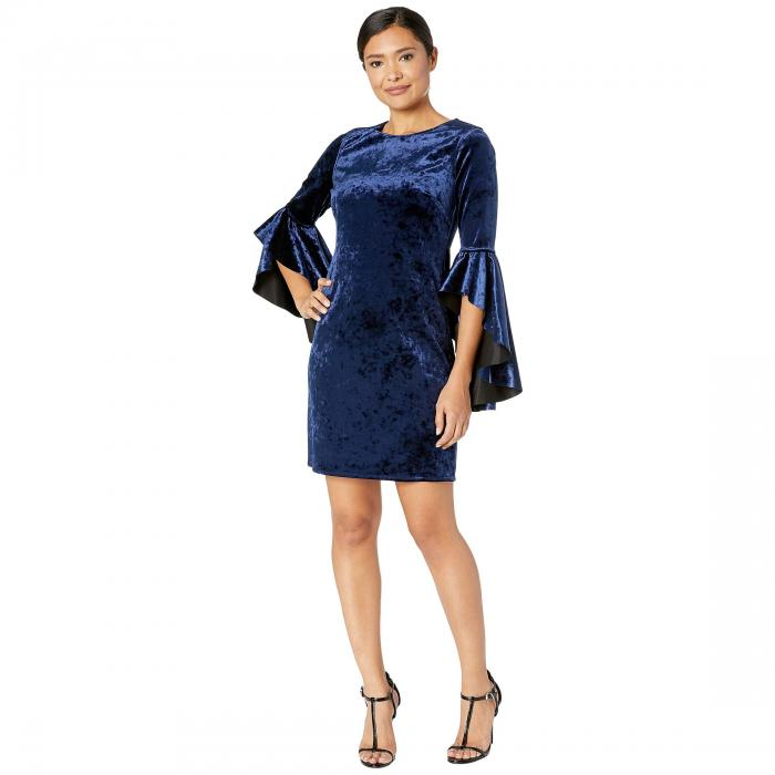 LAUNDRY BY SHELLI SEGAL リバーシブル ドレス レディースファッション ワンピース レディース 【 Reversible Velvet Dress With Drama Sleeves 】 Black/navy