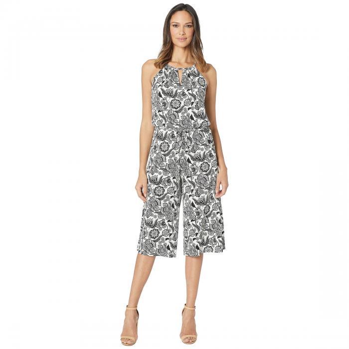 LONDON TIMES レディースファッション オールインワン サロペット レディース 【 Jacobean Cropped Jumpsuit 】 Soft White/black