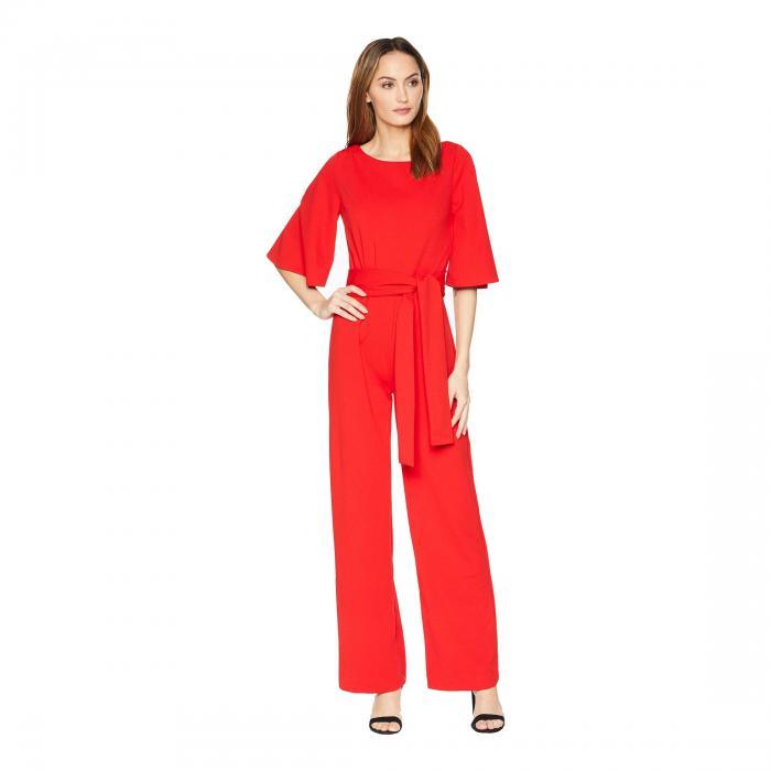 ALEXIA ADMOR スリーブ レディースファッション オールインワン サロペット レディース 【 3/4 Sleeve Boat Neck Jumpsuit 】 Red